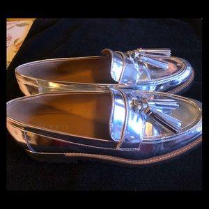 Franco Sarto Mirror-Silver Platform Tassel Loafers